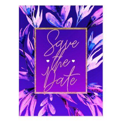 #savethedate #postcards - #Bright Purple Watercolor Botanical Save the Date Postcard