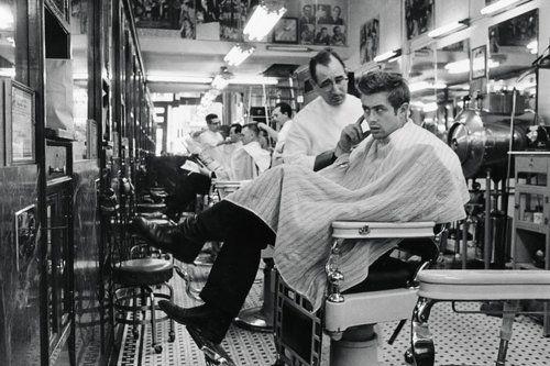 James Dean in barber shop.