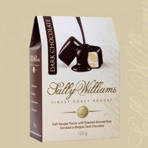 A box of 20 gift bags of Sally Williams Dark Chocolate Coated Nougat Gift Bags. Gourmet nougat from a true culinary genius.