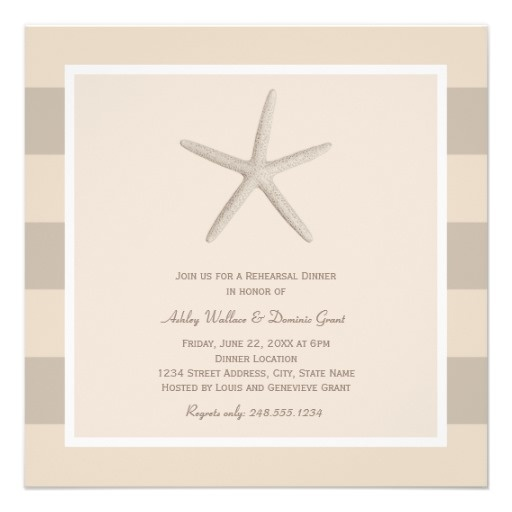 Rehearsal Dinner Invitations | Neutral Ivory Starfish Destination Beach Wedding Theme