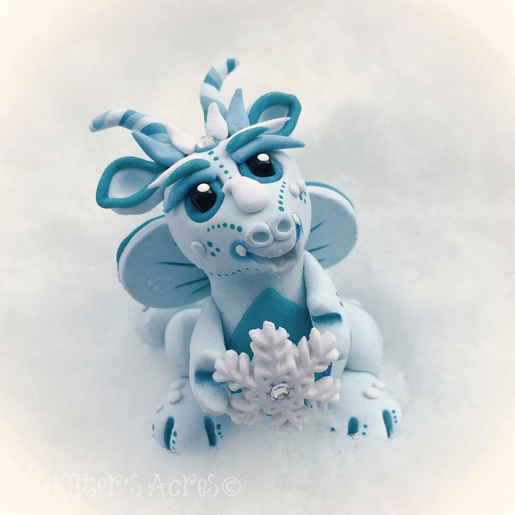 Polymer Clay Dragon 'Snowflake' - Limited Edition Collectible by KatersAcres on Etsy