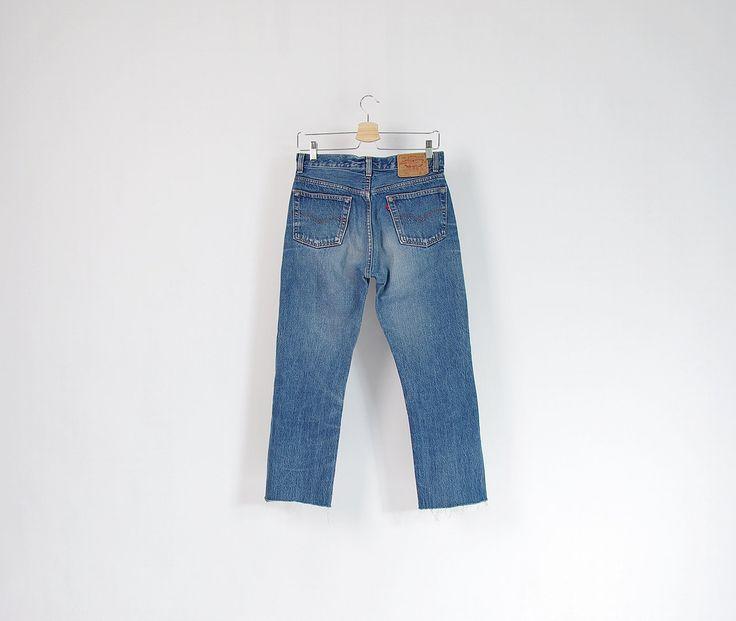 90s Levi's 501 Crop Raw Hem Distressed Denim Street Style Jeans Made in USA / Size W30
