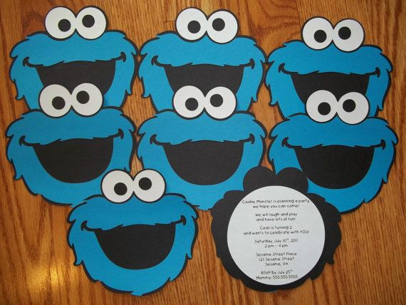 Cookie Monster Birthday Party InvitationsSet of 8 by elokhaiser