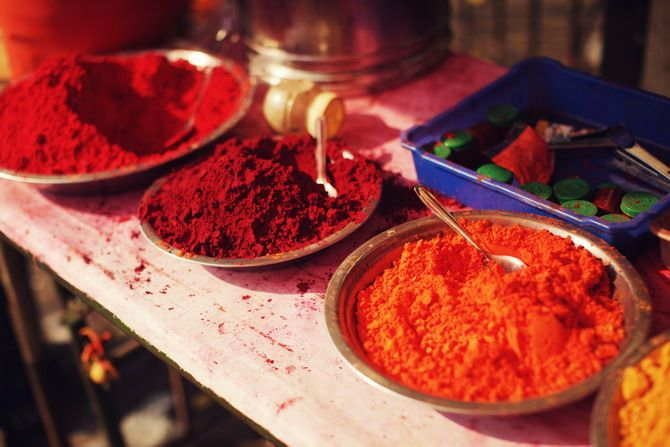 Wonderful spices of India. Bahaha, it kind of looks like the stuff they pelt you with during the festival of Holi. LOL.