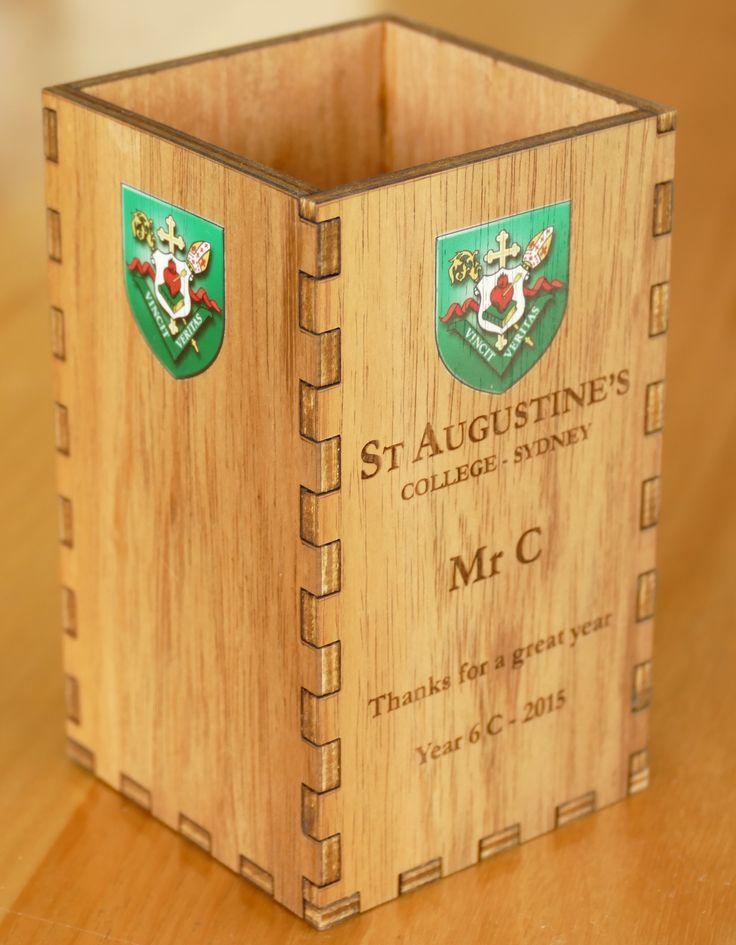 Desk pencil pen box. custom engraved and printed gift using laser cut Australian blackwood MyChoice@Firebridge