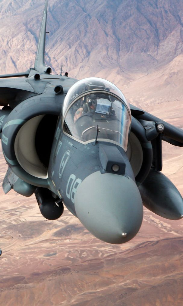 US Marines Harrier in Afgan. The one engine powering the plane sitting centrally behind the pilot.