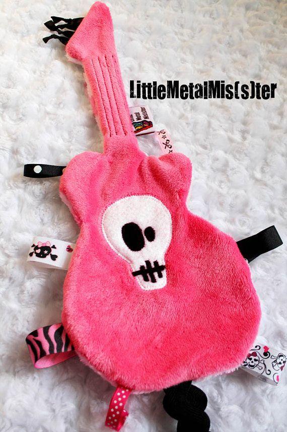 SALE GuiTag - punk rock baby Guitar Sensory Blanket / Lovey Hot Pink (Alternative / Music / Heavy Metal) teething infants, baby girl on Etsy, $20.00