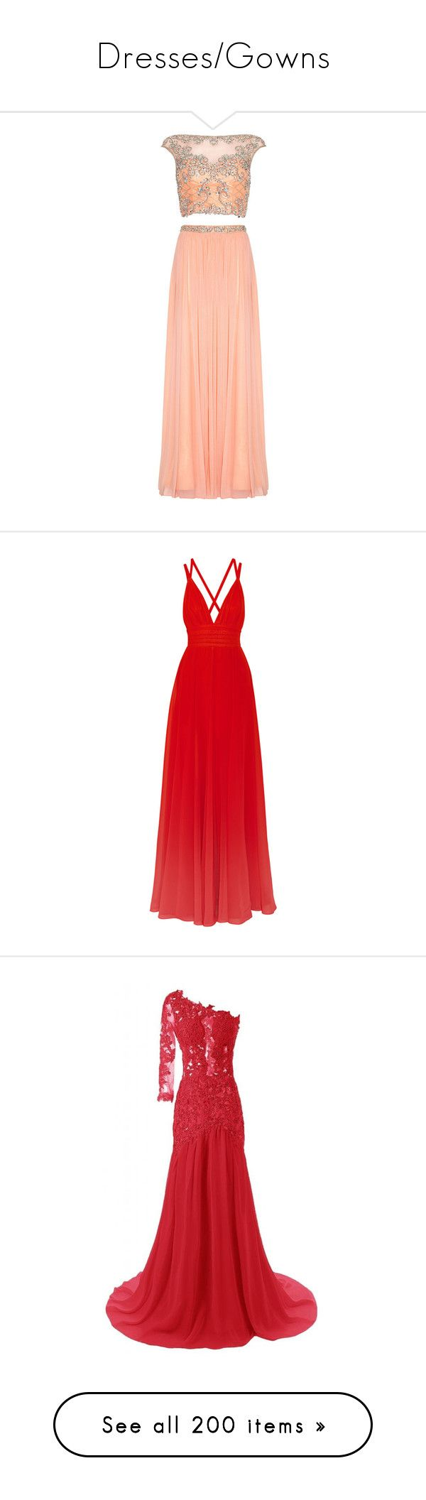 """""""Dresses/Gowns"""" by smollllbeannnn ❤ liked on Polyvore featuring dresses, gowns, red ball gown, prom gowns, prom ball gowns, coral gown, red prom gowns, long dresses, vestidos and elie saab"""