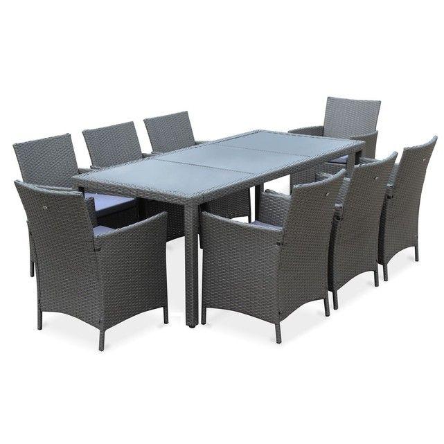 Salon de jardin Tavola gris table de 195cm en résine tressée avec 8 fauteuilsCet ensemble Tavola est composé d'une table rectangulaire et de 8 fauteuils en résine tressée.La résine tressée est une matière synthétique noble et résistante. Elle a été conçue pour résister aussi bien aux rayons du soleil (UV) qu'aux intempéries (pluie / neige /eaux salées). L'aspect de cette matière ressemble beaucoup au rotin naturel et donne à cet ensemble un coté chic et moderne qui lui perme...