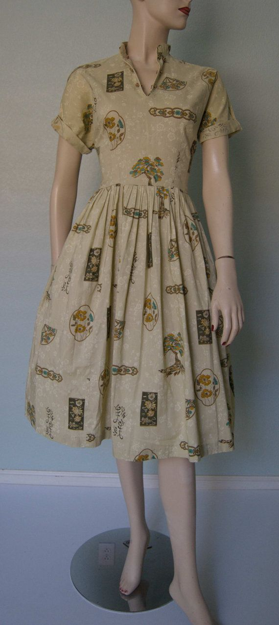 1950s Casual Cotton Day Dress // Novelty by KittyGirlVintage