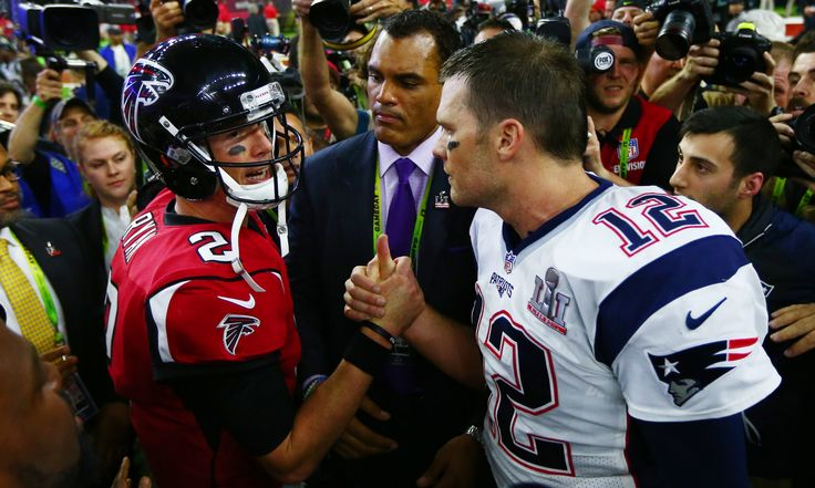 Feb 5, 2017; Houston, TX, USA; Atlanta Falcons quarterback Matt Ryan (2) shakes hands with New England Patriots quarterback Tom Brady (12) after Super Bowl LI at NRG Stadium. Mandatory Credit: Mark J. Rebilas-USA TODAY Sports