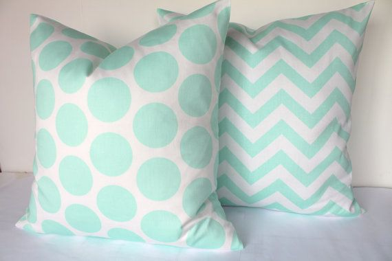 MINT PILLOWS SET of 2 Mint Green Decorative by SayItWithPillows -she wants these