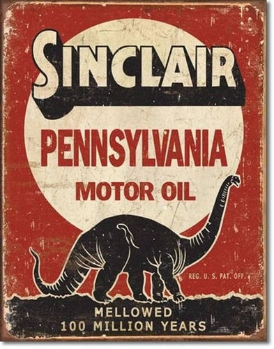 Sinclair Motor Oil Gas Station Tin Sign 100 Million Years.
