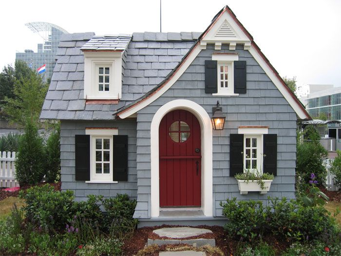 Muted Icy Blue Siding Deep Red Door Black Shutters And
