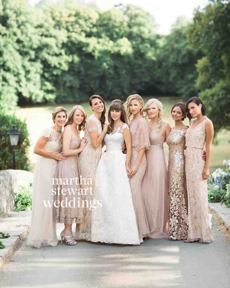 30 Reasons to Love the Mismatched Bridesmaids Look | Martha Stewart Weddings - Margo & Me's Jenny Bernheim dressed her bridesmaids in different champagne-colored BHLDN gowns.