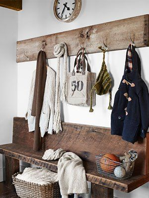 primitive bench in entry way/mud room- from Country Living