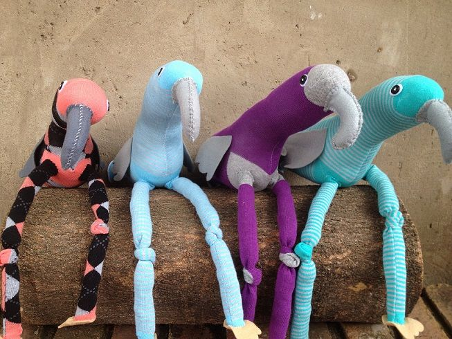 Grey Sock Birds R100 each https://www.facebook.com/snugglebuggoodies