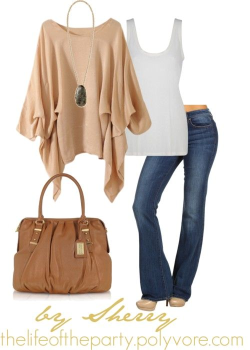 .Love the tan top with this...some flashy jewelry or a beautiful scarf...it's a classy look!