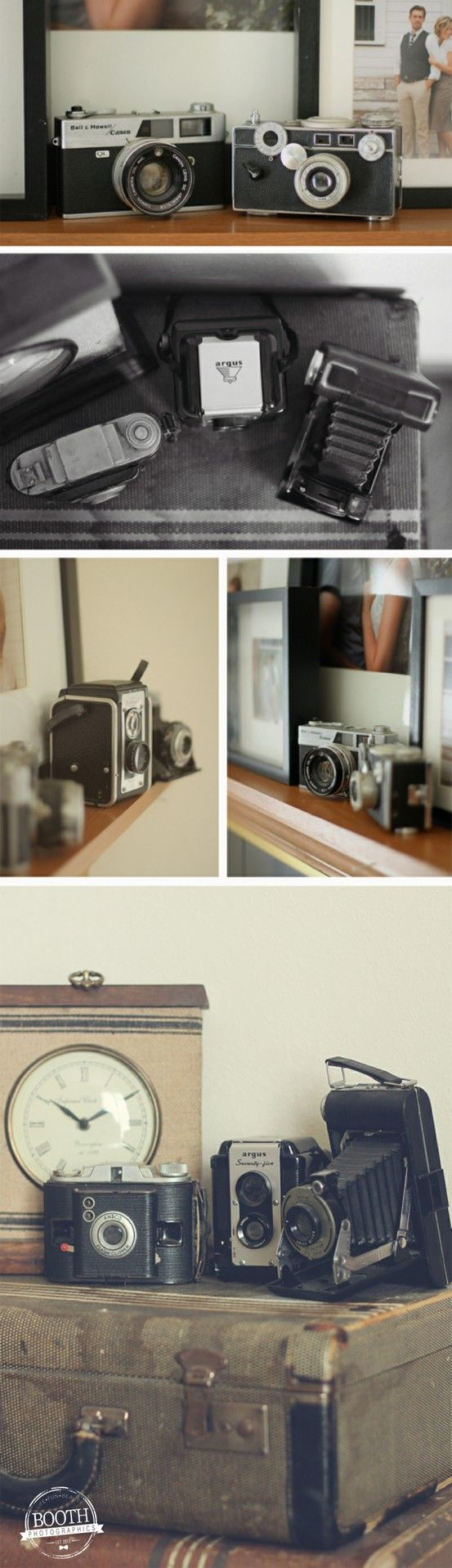 We decorated the home with vintage cameras from my grandpa
