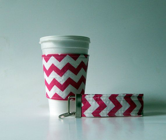Pink and White Coffee Cup Sleeve with matching by QuiltsbyLaTanya