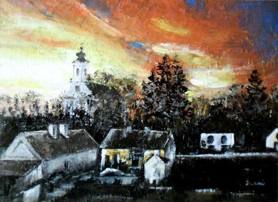 Art  Oil Painting  Original Painting Sunset in  my by kezulegsajat