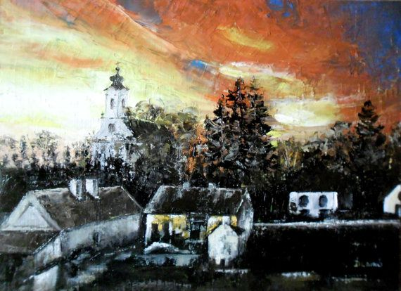 Art  Oil Painting  Original Painting Sunset in  my by kezulegsajat
