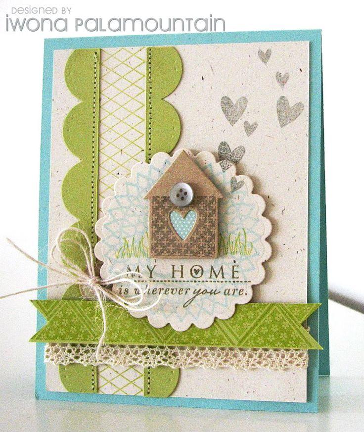 scallop border dies framing stamped border. Like the little house. Good embellishment for new home card. - Kaart met een huisje erop.
