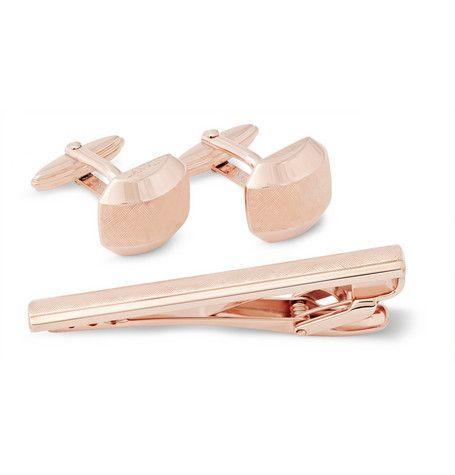 $345 LANVINEngraved Rose Gold Cufflink and Tie Clip Set