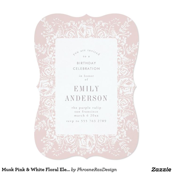 Musk Pink & White Floral Elegant Invitation #zazzle #invitation #stationery #tabletop #flowers #floral #organic #original #illustration #designer #suite #elegant #stylish #phrosneras #phrosnerasdesign #calligraphy