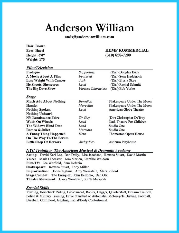 Actor Resume Format | Resume Format And Resume Maker
