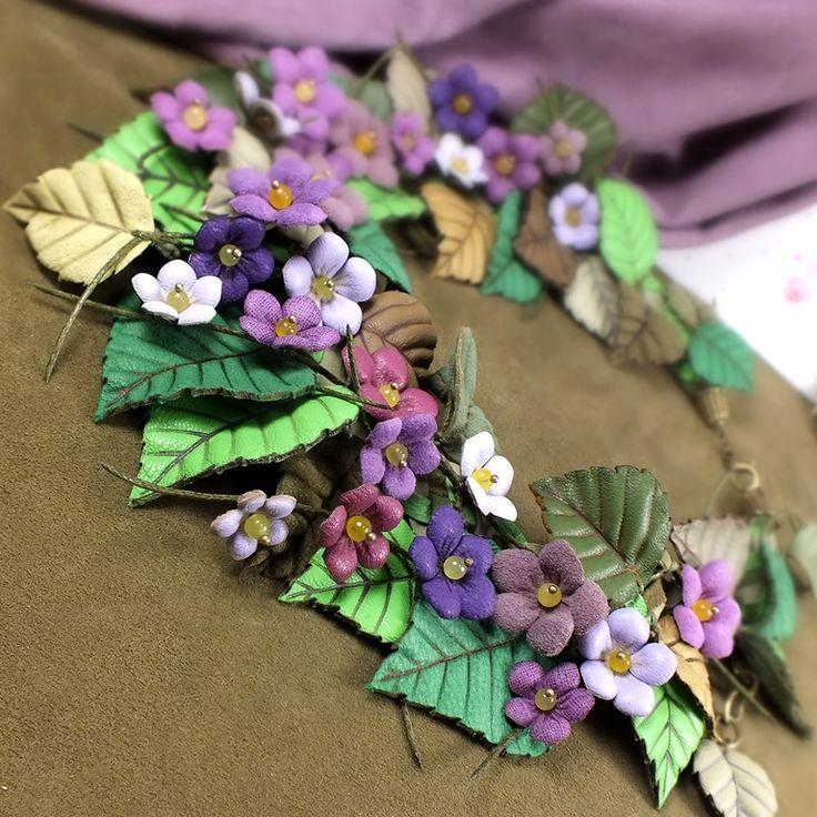 Купить Сад Счастливой Сирени. Колье из натуральной кожи - фиолетовый, сиреневый, лавандовый, сирень, зелёный