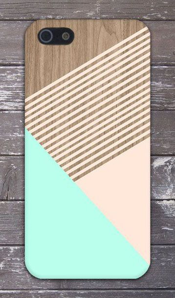 Mint Champagne Pink Striped Wood Design Phone Case eye candy love the brands others cases! So pretty