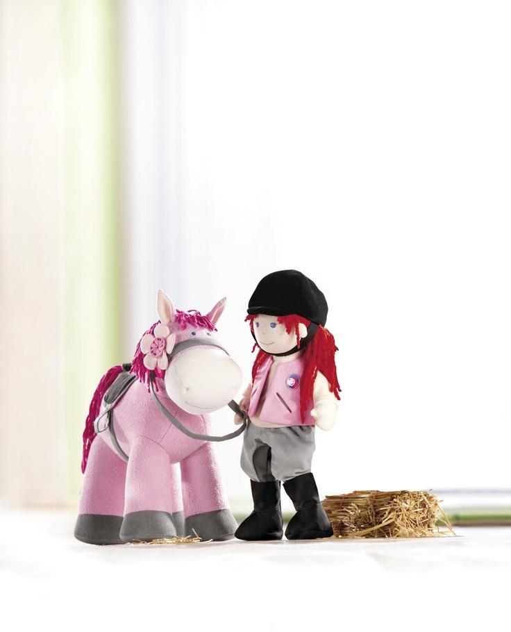 Koník Paulína - HH3760 Koník Paulina v ružovom s odnímateľným sedlom a magnetickou kvetinkou. Výška: cca 40 cm