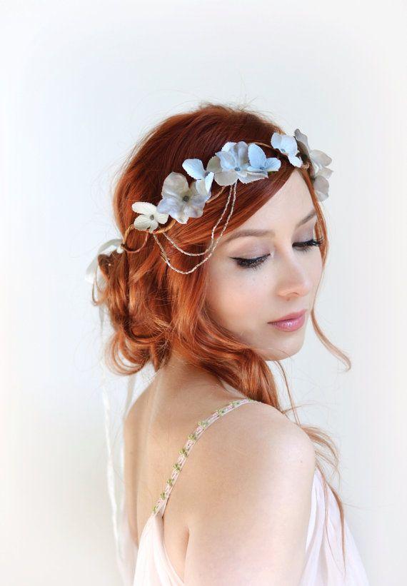 Silver flower crown wedding headpiece grey от gardensofwhimsy