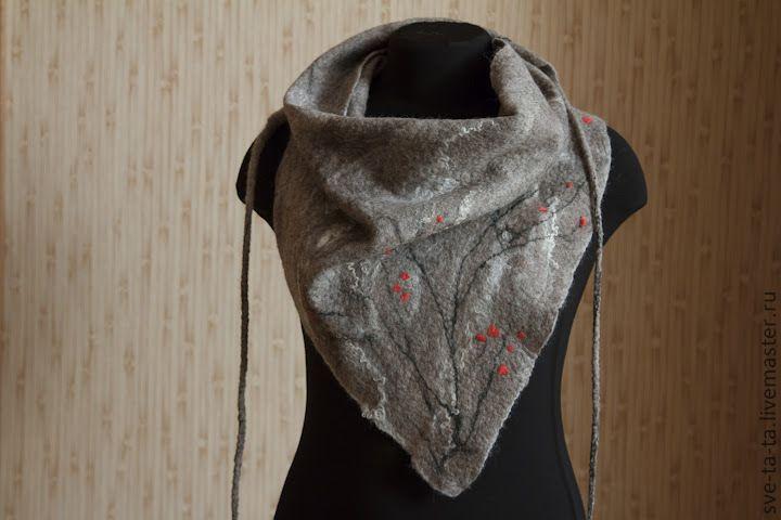 """Купить Бактус """"Сакура"""" - серый, авторский войлок, шарф из войлока, валяный шарф, валяный бактус"""