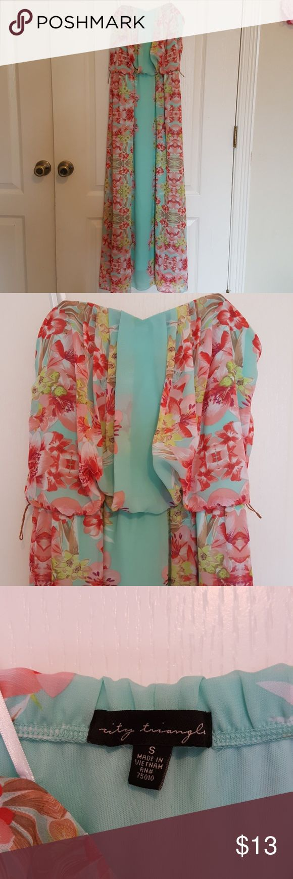"City Triangles strapless mint maxi dress This dress is so cute and perfect for summer!  It is 46""long and has an elastic waist. Includes belt and is in great condition. No rips or stains. Bundle so you can save more! I also welcome offers. City Triangles Dresses Maxi"