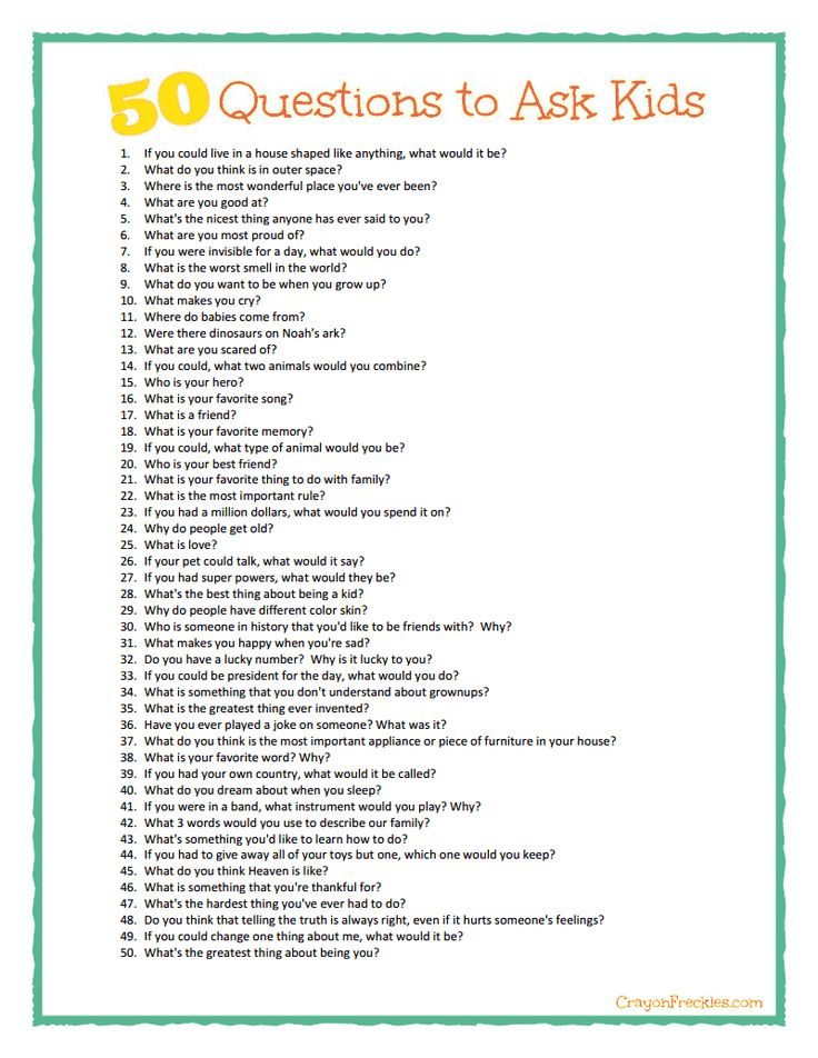 50 questions to ask kids {free printable} from CrayonFreckles.com