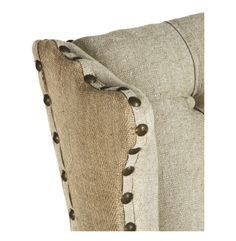 burlap furniture. gilles french country rustic tufted burlap linen wing chair furniture