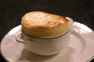 I've made these several times, with sugared blackberries dropped into the dish. Fabulous cold or at room temp. // Goat cheese soufflés. // David Lebovitz