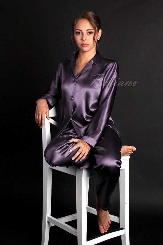 Natural SIlk Women Pajamas Sets Silk Lilac Luxury Pajama