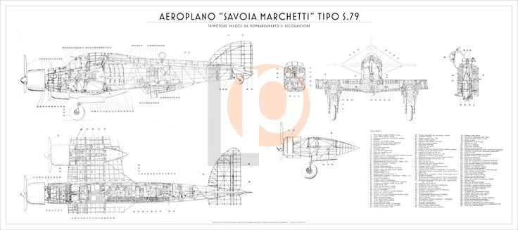 Aeroplano S.I.A.I. Marchetti S.79-Cod. S79-126x56 TRE VISTE