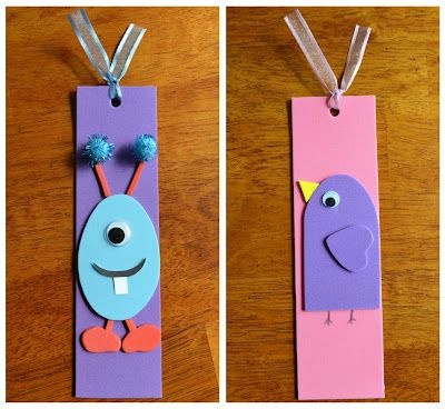 #2 {Foam Monster and Bird Bookmarks}