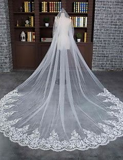 Wedding Veil One-tier Cathedral Veils Lace Applique Edge Scalloped Edge Tulle Lace Ivory – USD $ 67.00