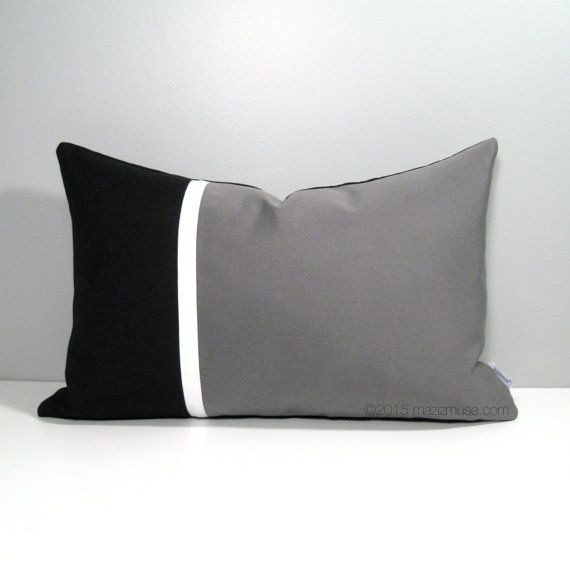 Black Grey Outdoor Pillow Cover in a color block design - Sewn in Colorfast, Stain Resistant and Machine Washable Sunbrella Fabric. #Mazizmuse #SunbrellaPillows