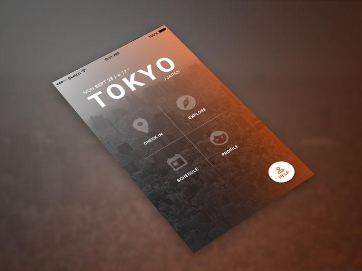 Minimal mobile design - travel app by Iza Bulska