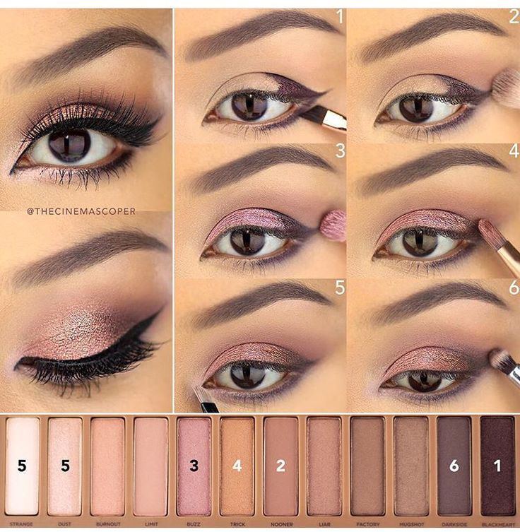 """Naked 3-- 1⃣""""Blackheart"""" on the on the outer lid and lower lash line.2⃣""""Nooner"""" on the crease. 3⃣""""Buzz"""" on the lid. 4⃣""""Trick"""" over """"Buzz"""" 5⃣A mix of """"Strange"""" and """"Dust on the inner corners.6⃣""""Darkside"""" on the outer v."""