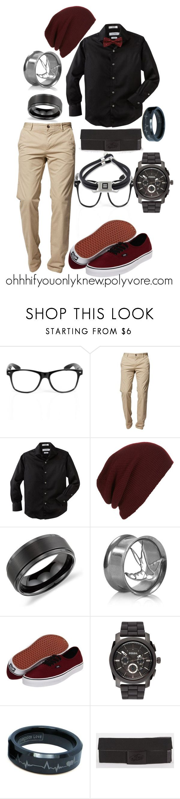 """Untitled #27"" by ohhhifyouonlyknew ❤ liked on Polyvore featuring Vision, BOSS Orange, Calvin Klein, Topman, Blue Nile, Vans, FOSSIL, my creation, my style and casual"