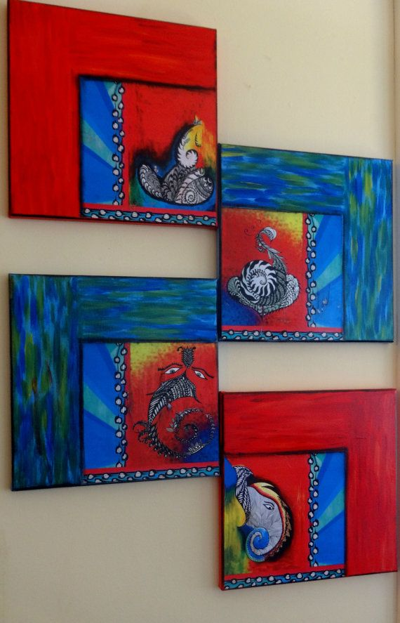 Free Shipping. Set of 4 Ganesha Prints(Made from Original Paintings) decoupaged on canvas