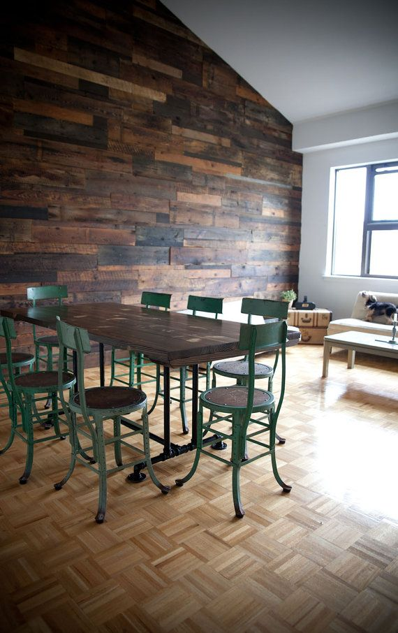 That plank wall & those turquoise chairs! 6ft Industrial Style Farmhouse Table Farmhouse by EmmorWorks