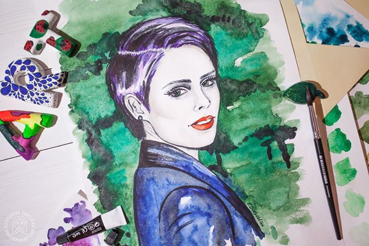 Fashion watercolor illustration by Dudyshkina Ekaterina. Watercolor painting. Aquarelle colored splashes. Watercolour art work. Paints palette. Art space of painter artist. The process of creation. My art tools – brushes, watercolor and oil paints, color palettes, ink. Art for home decor. Модные иллюстрации в стиле fashion. #dudyshkina #workspace